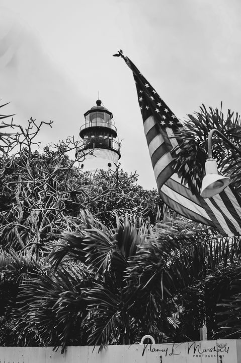 Key West Light House B&W Signed - ccgrin