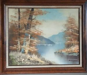 Oil canvas painting signed