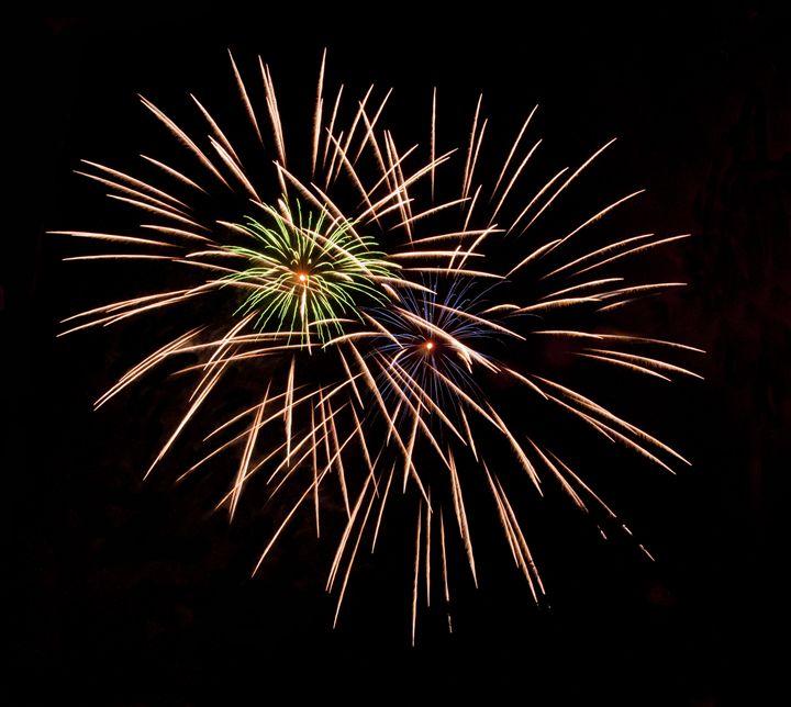 Firework - Green, Yellow, Blue - Capturing Life