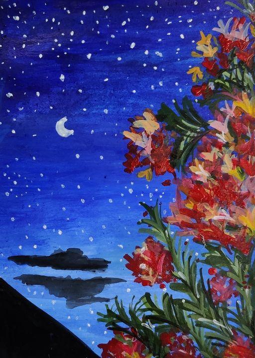 Enchanted flowers at night - Aqsa Khan