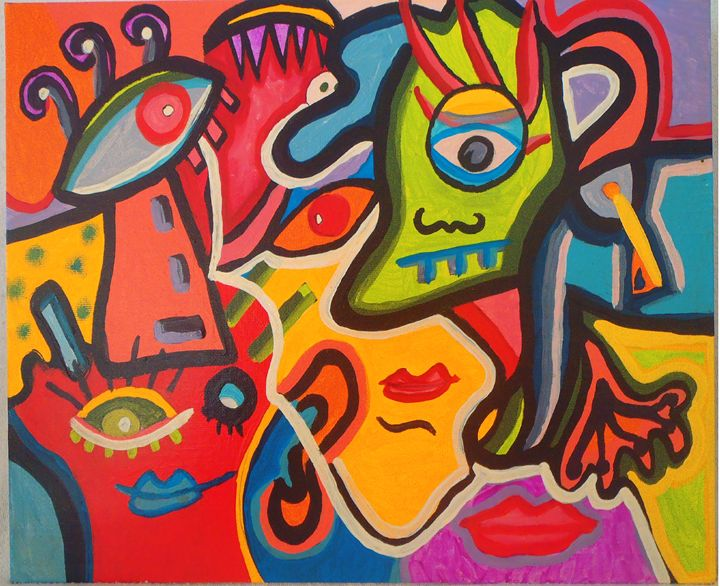 GHOST PARTY 3 - Anabel Molina art original painting