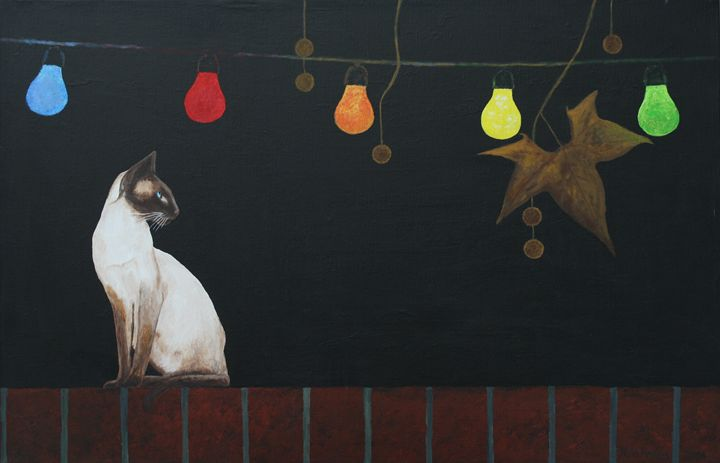 Siamese Cat on a Wall - Robert Harris