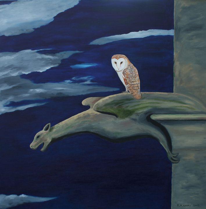 A Barn Owl on a Gargoyle - Robert Harris