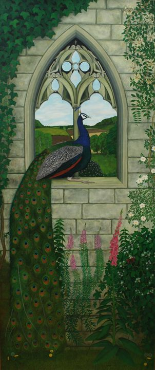 A Blue Peafowl on a Gothic Arch - Robert Harris