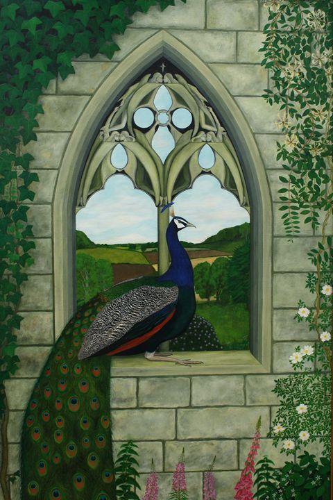 A Blue Peafowl on a Gothic Arch Deta - Robert Harris