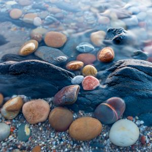 Colorful pebbles in the beach