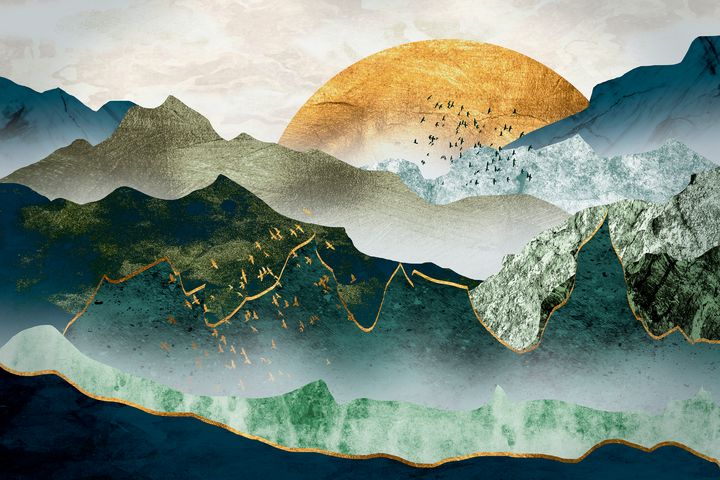 The green golden mountains by sunset - César Torres