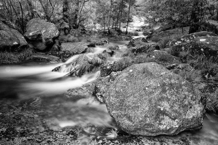 The mountain river and the big rock - César Torres