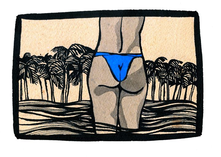 The Blue Bikini - Arte Sobre Papel