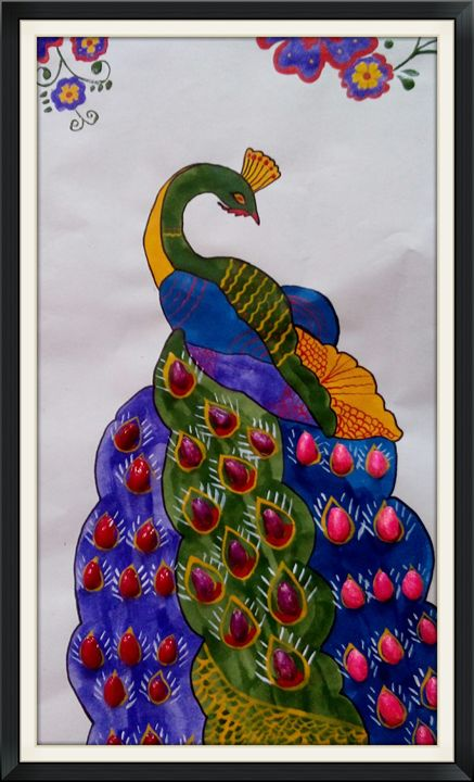 peacock in paradise - paint and paper