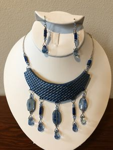 Polymer  clay 5 dangle blue - Paula's Gallery