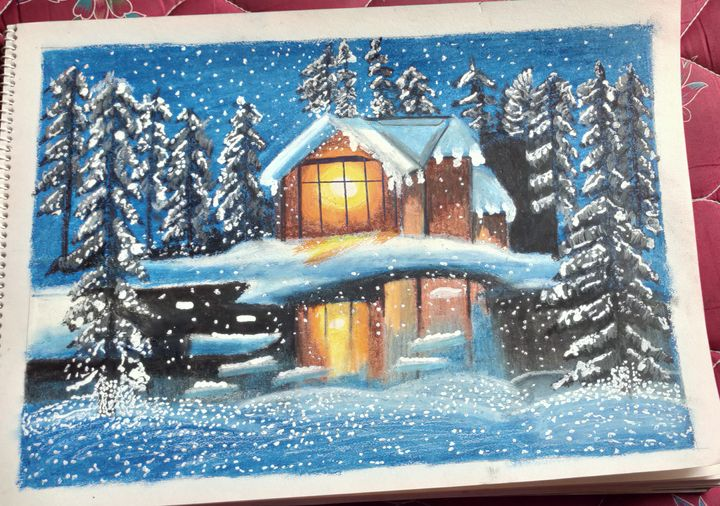 snowfall night scenery oilpastel art - sanjana kumari