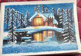 snowfall oil pastel painting