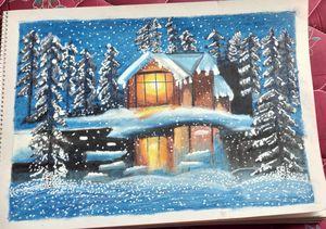 snowfall night scenery oilpastel art