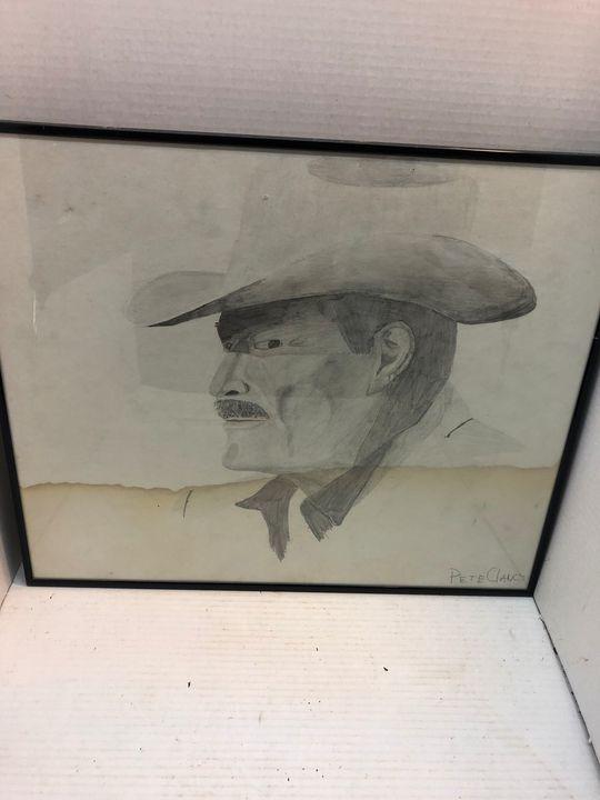 Pencil Drawing - Cowboy Pete Clancy - EIM Art & Art Collectibles