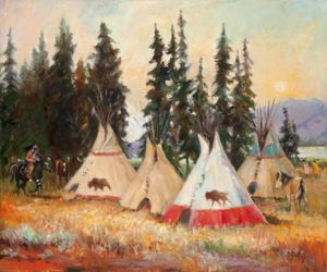 Tipis and Pine Trees