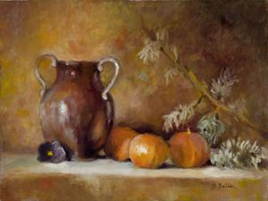 Pitcher With Oranges and Pine Bough
