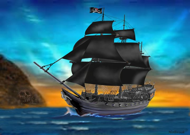 PIRATE SHIP AT SUNSET - HOLBROOK ART PRODUCTIONS
