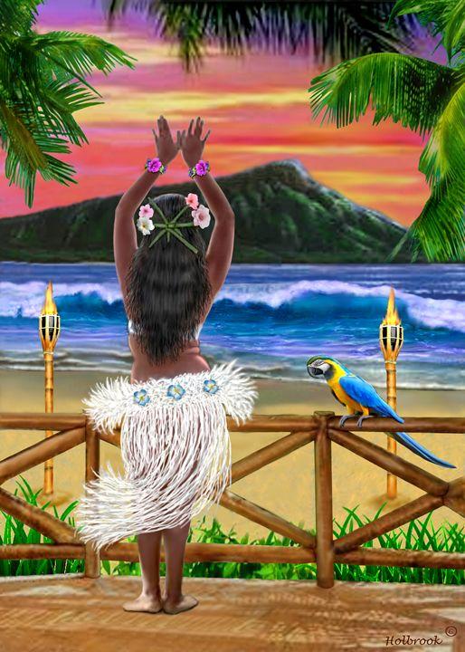 HAWAIIAN SUNSET HULA - HOLBROOK ART PRODUCTIONS