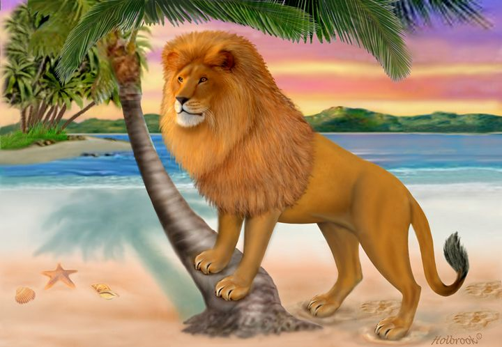 LION ON THE BEACH - HOLBROOK ART PRODUCTIONS
