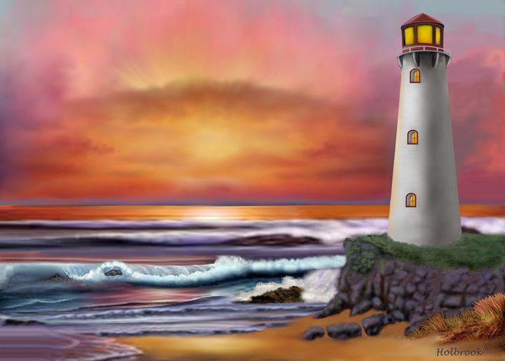 HAWAIIAN SUNSET LIGHTHOUSE - HOLBROOK ART PRODUCTIONS