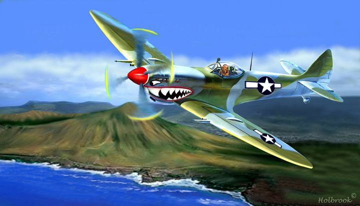 SPITFIRE OVER HAWAII - HOLBROOK ART PRODUCTIONS