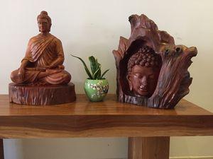 Wooden Buddha head from the tree log - WoodenBuddhas.com