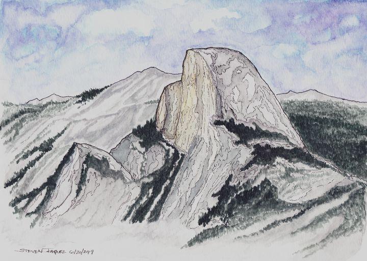 Yosemite Valley Half Dome - RedDragon Watercolors