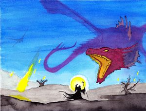 Red Dragon vs Wizard watercolor