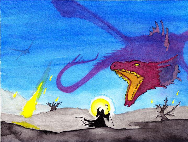 Red Dragon vs Wizard watercolor - RedDragon Watercolors