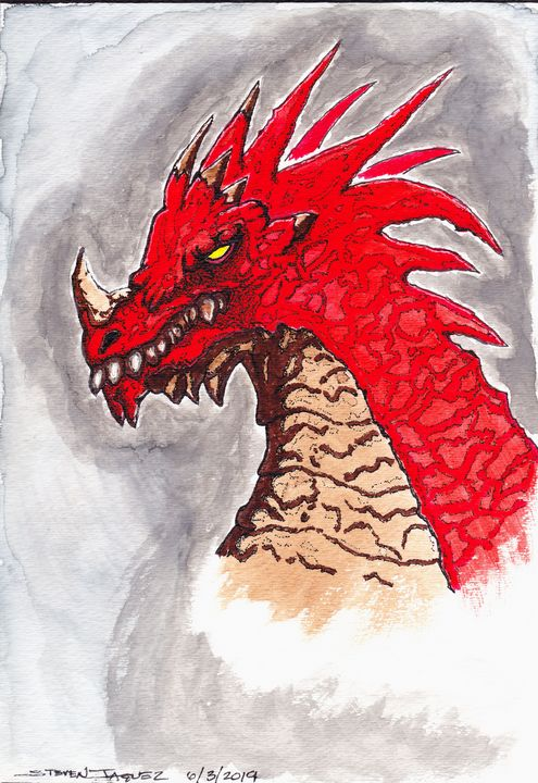 Red Dragon watercolor painting - RedDragon Watercolors