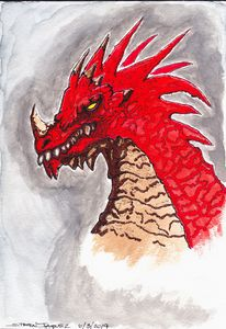 Red Dragon watercolor painting