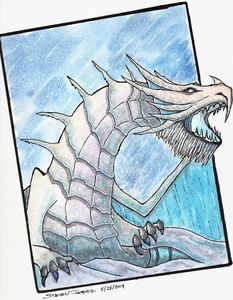 Snow Dragon watercolor and ink