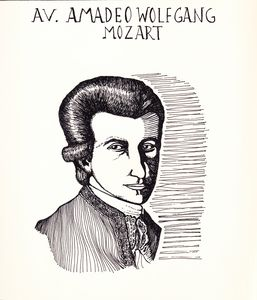 Mozart Ink Drawing