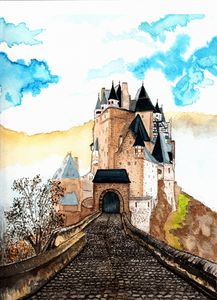 Berg Eltz Castle watercolor painting