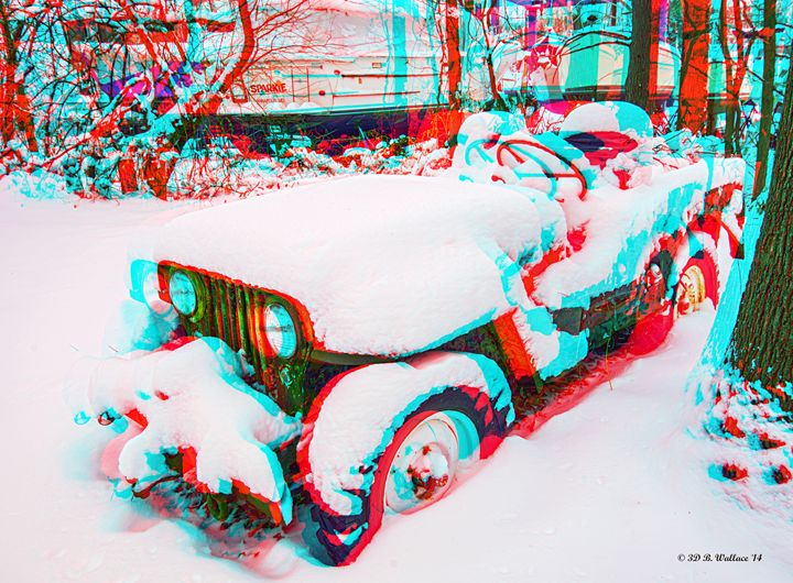 Rusty Jeep In Snow - Need 3D Glasses - Brian Wallace