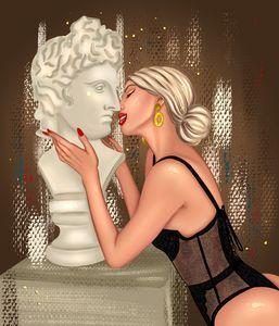 Woman kissing a statue