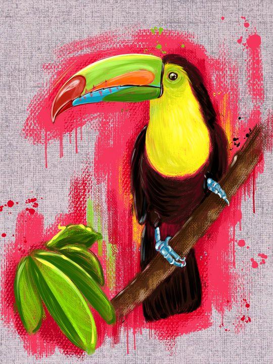 Exotic Toucan bird, oil painting - Art.kuzeneva