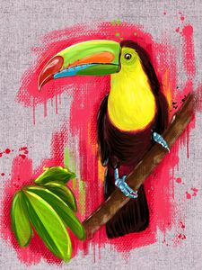 Exotic Toucan bird, oil painting