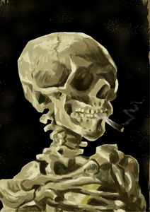 Skeleton with a Burning Cigarette