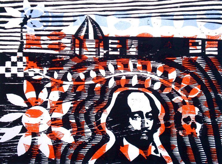 Shakespeare @ Treasure Beach - Woodcutprint / mokuhanga
