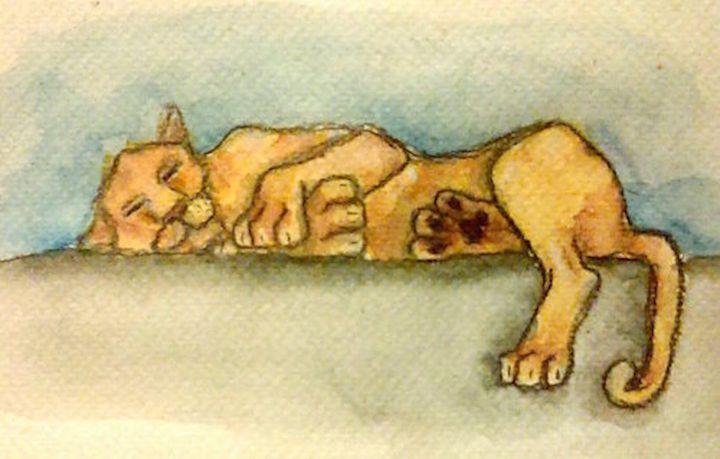 sleeping lion - Jen Hallbrown Art