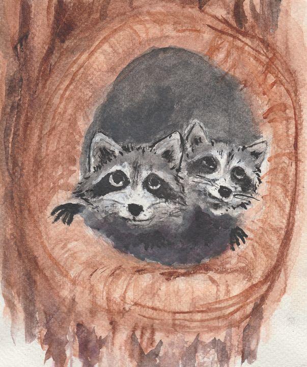 Raccoons - Jen Hallbrown Art
