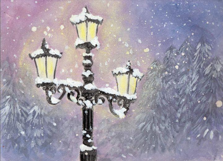 Lamp Post in Purple - Jen Hallbrown Art