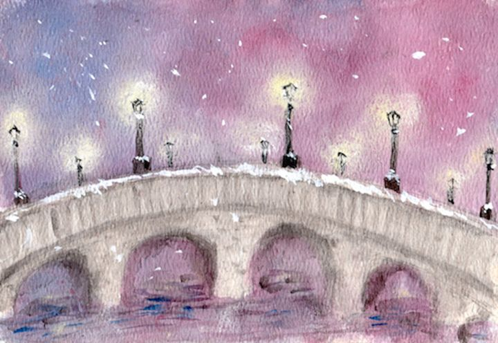 Lamp Posts On A Snowy Stone Bridge - Jen Hallbrown Art