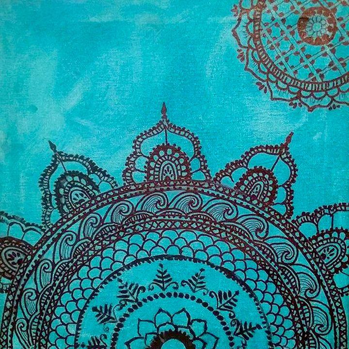 Two Teal Mandalas - Jen Hallbrown Art