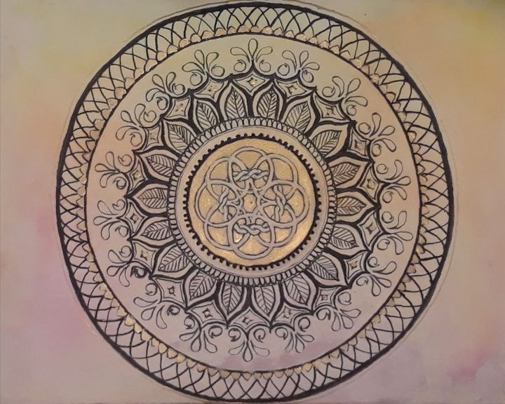 Mandala on Pink and Gold - Jen Hallbrown Art