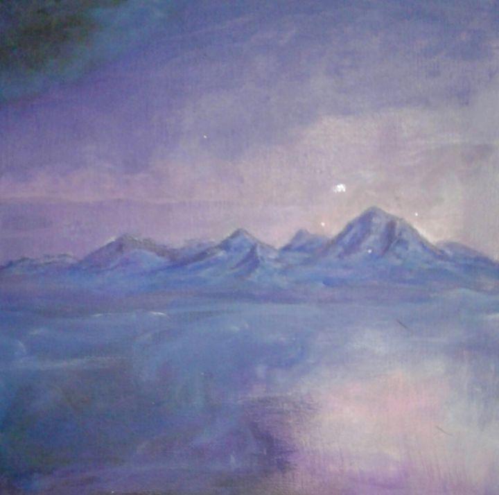 Purple Haze And Floating Mountains - Jen Hallbrown Art