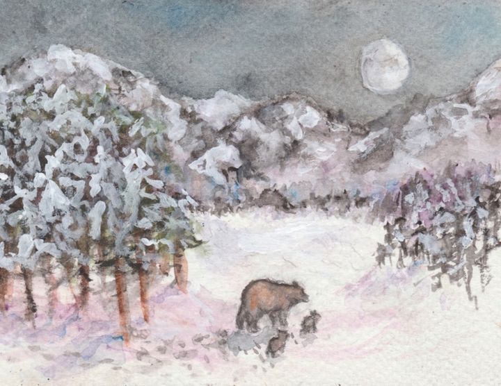 Bears in winter - Jen Hallbrown Art