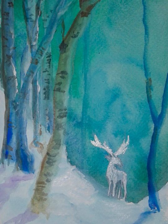 The White Stag of the Solstice - Jen Hallbrown Art